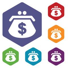 Dollar purse rhombus icons