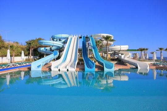 Aquapark slides. Water park