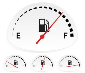 Fuel indicators set at 4 stages. Empty, full fuel tank concepts,