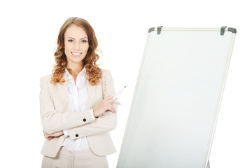 Business woman near flipchart.