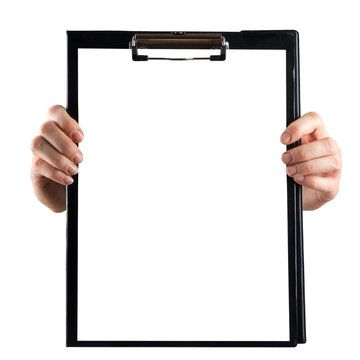 Female hands holding medical clipboard with blank sheet of paper