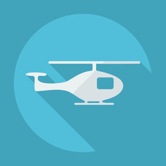 Flat modern design with shadow helicopter