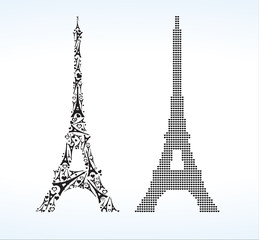 Eiffel Tower consisting of small Eiffel Towers