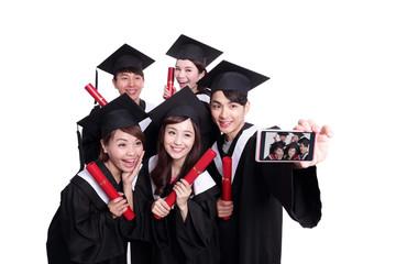 Selfie of happy graduates student