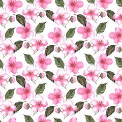 Cherry blossom sakura seamless pattern texture background