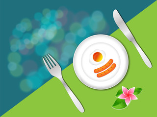 breakfast in plate with fork and knife on green color, breakfast