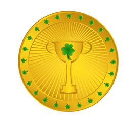 Golden Trophy Cup Coin with Shamrock