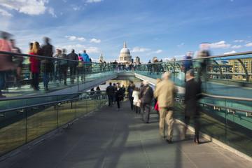 Blurred motion view over the Millennium footbridge