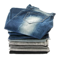 Many stacks of jeans