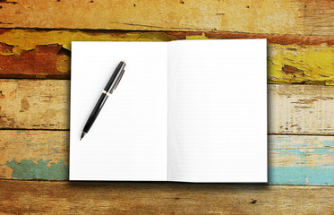 Blank page on grunge wall background