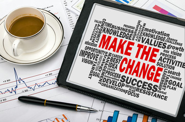 make the change with related word cloud hand drawing on tablet p