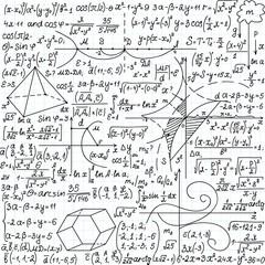 Mathematical vector seamless with formulas, plots, equations