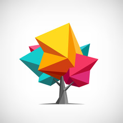 Conceptual polygonal tree. Abstract vector Illustration, low