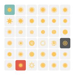 Sun icons. Vector Illustration.