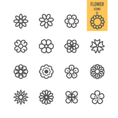 Set of flower icons. Vector illustration.