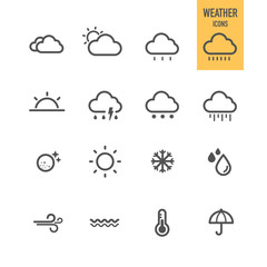 Weather icons set. Vector illustration.