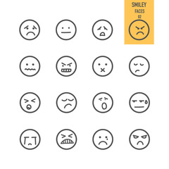 Smiley faces icons set. Vector illustration.