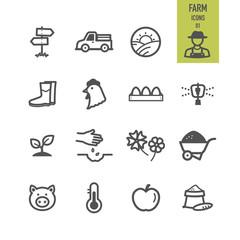 Farm icons set. Vector illustration.