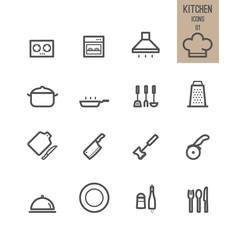 Set of kitchen icons. Vector illustration.