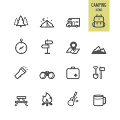 Set of camping icons. Vector illustration.