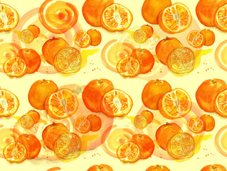 A seamless watercolour background orange pattern with splashes