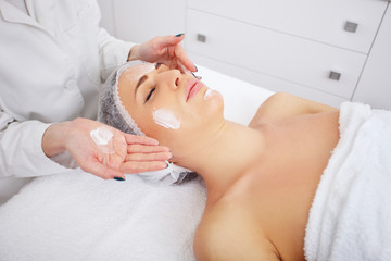 Young woman with applied organic facial mask