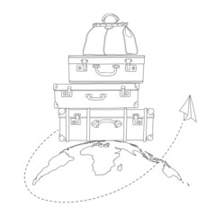 Vector illustration of flying air plane around travel suitcases