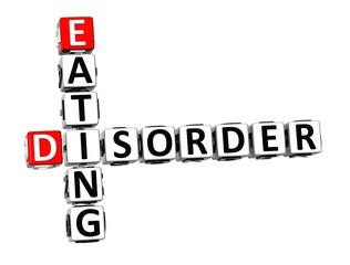 3D Crossword Eating Disorder over white background.