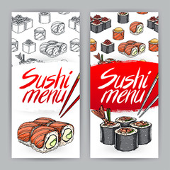 two covers for sushi menu