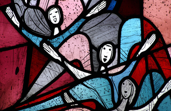 Singing angels in stained glass