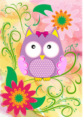 Vector illustration with owl and flowers