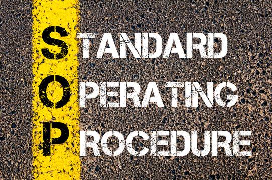 Business Acronym SOP as Standard Operating Procedure