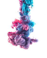 Color drop on white background. Blue and light pink liquids