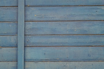 Painted ragged blue wooden wall background