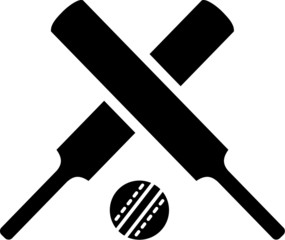 Crossed cricket bats with ball
