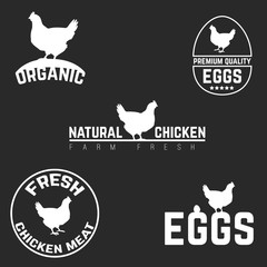 Set chicken and eggs logo emblem. Natural fresh farm