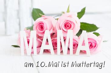 Wall Mural - Am 10.Mai ist Muttertag Karte Rosen Rosa