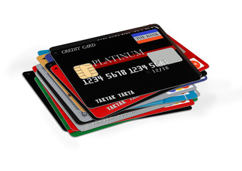 credit cards stack on white