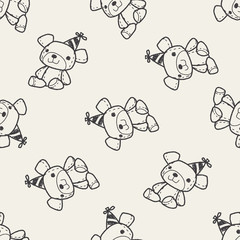 Doodle Teddy seamless pattern background
