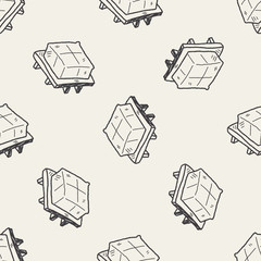 tofu doodle seamless pattern background