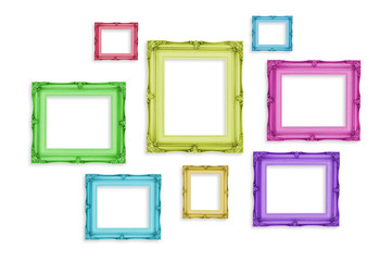 Vintage colorful photo frames isolated on white background,Templ