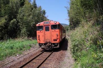 林を走る朱色の列車