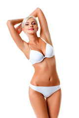 woman wearing white underwear portrait