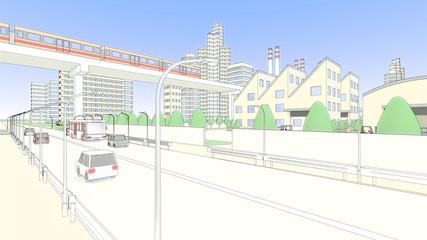 工場と電車と車道