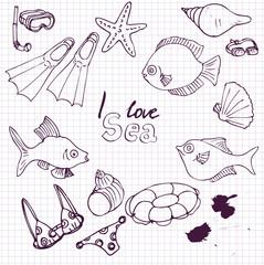 sea  set of sketch