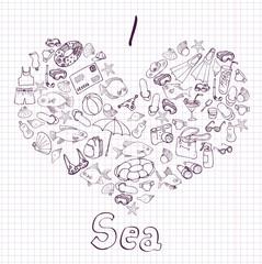 sea card with heart