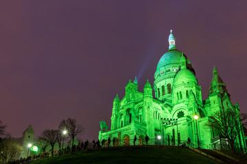 Deurstickers Sacre Coeur in Montmartre, Paris at night