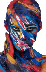 Colorful portrait of a girl on a white background. Face paints.