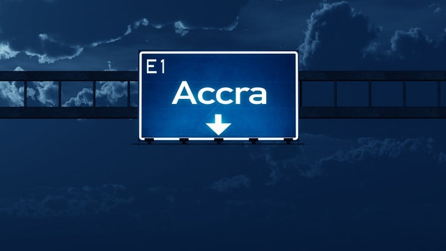 Accra Ghana Highway Road Sign at Night