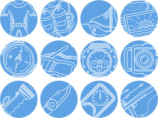 Diving objects blue round vector icons